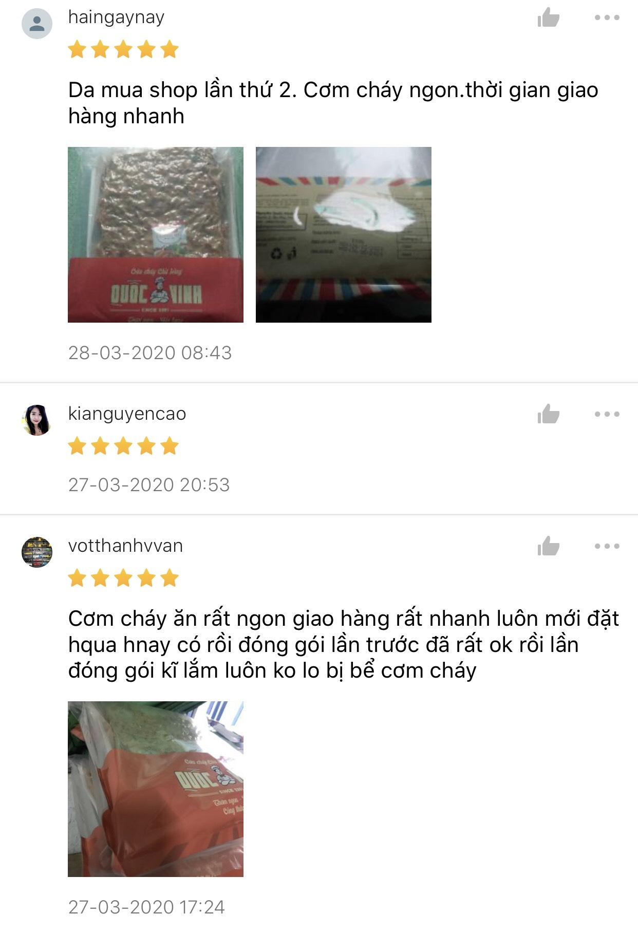 review của khách hàng mua cơm cháy chà bông quốc vinh